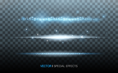streaks of blue light, on transparent background, 3D illustration Illustration