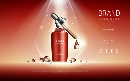 Cosmetic ads template, droplet bottle mockup isolated on red background. Essence oil drip. 3D illustration. Ilustração