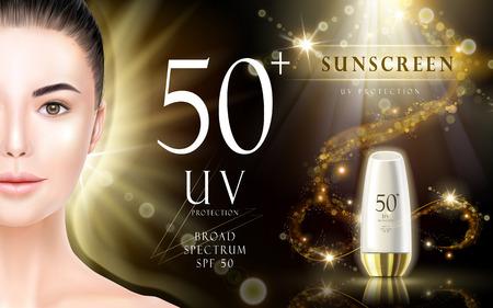 beschermende zonnecrème delicate reclame, gouden achtergrond, 3d illustratie Vector Illustratie