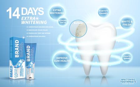 whitening tandpasta advertentie, op lichtblauwe achtergrond, 3d illustratie