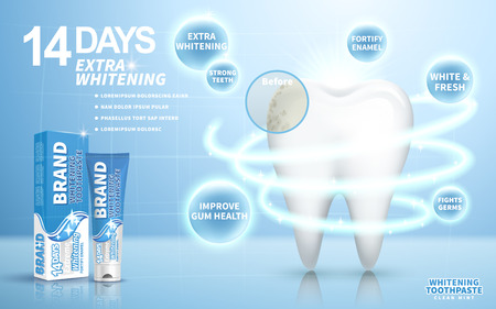 additional chemicals: whitening toothpaste ad, on light blue background, 3d illustration