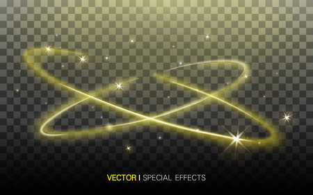 extravagant: golden surrounding lights with beautiful refractions on transparent background, 3D illustration