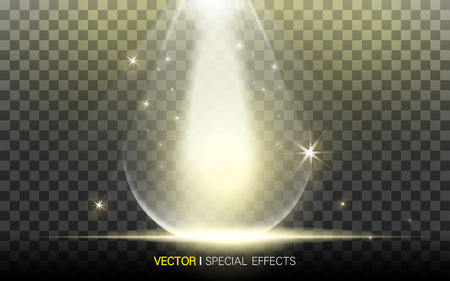 refractions: golden waterdrop with beautiful refractions on transparent background, 3D illustration Illustration