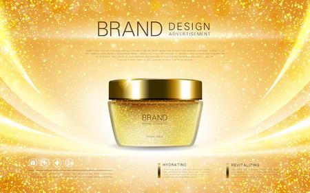 Kosmetische Sahnebehälter, blendend Anzeigen für Kosmetik mit goldenen Folienelementen. 3D-Darstellung. Standard-Bild - 66617788