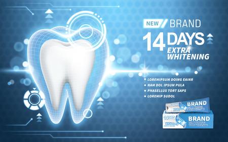 ホワイトニング歯磨き粉の広告、ターコイズ ブルーの背景、3 d イラストレーションに