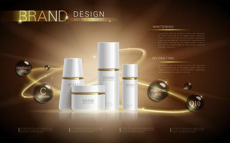 Cosmética plantilla de anuncios, maqueta cosmética en blanco con efecto de brillo. Información sobre el producto y la bola líquido translúcido alrededor de las botellas. Ilustración 3D. Ilustración de vector