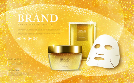 Cosmetic ads template, cream container and facial mask mockup isolated on dazzling background. 3D illustration.