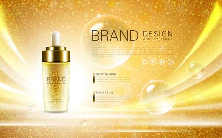 화장품 광고 템플릿, 눈부신 배경에 고립 방울 병 모형. 황금 호일 거품 요소입니다. 3D 그림.