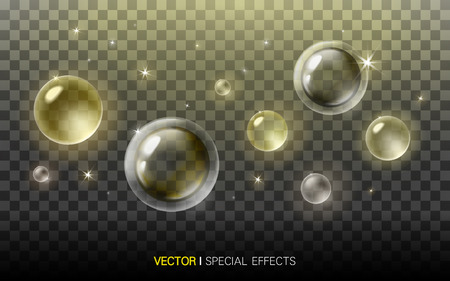refractions: golden bubbles with beautiful refractions on transparent background, 3D illustration Illustration