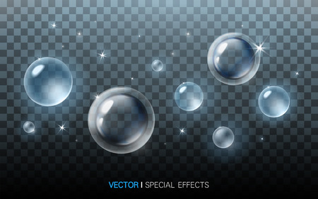 refractions: blue bubbles with beautiful refractions on transparent background, 3D illustration