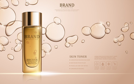 Skin toner ads template, glass bottle mockup for ads or magazine. Transparent liquid drip on background. 3D illustration.