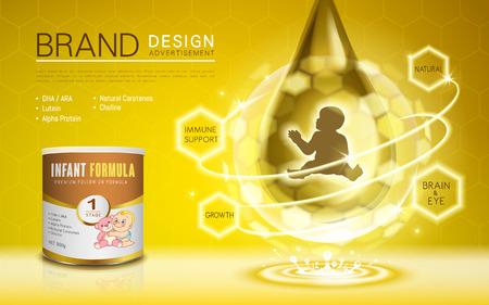 Publicité sur la formule pour nourrissons, avec nutrition répertoriée, fond doré, illustration 3D