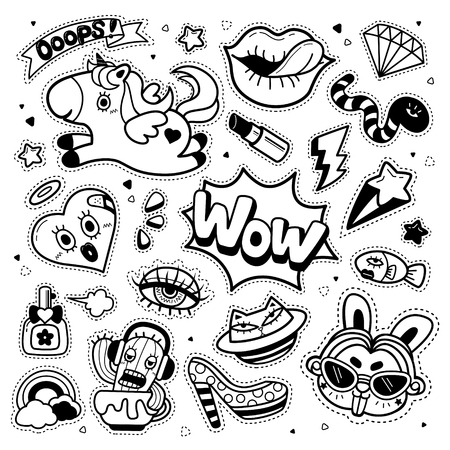 drawing: Lovely patch badges set, trendy elements collection for decoration. Embroidery or stickers in cartoon style. Black and white. Illustration