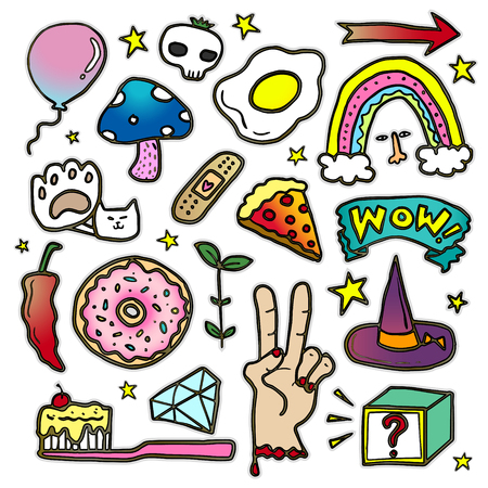 chilly: Lovely patch badges set, donut, hand, mushroom and other elements for decoration. Embroidery or stickers in cartoon style.
