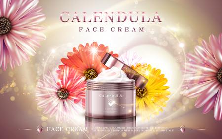 calendula: calendula facial cream ad, contained in cosmetic jars, 3d illustration Illustration