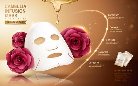 Camellia masker in zak, gouden achtergrond, 3d illustratie Stock Illustratie