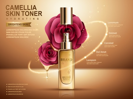 3d dimensional: camellia skin toner in sprayer bottle, golden background, 3d illustration