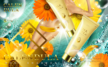calendula body shampoo ad with foam and lady, contained in tube, underwater background, 3d illustration Çizim