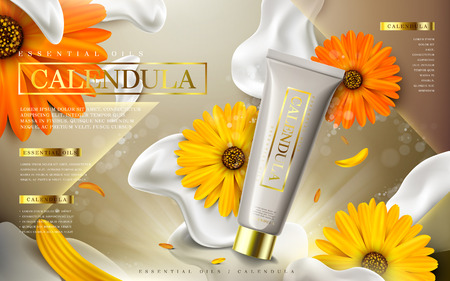 calendula essential oil ad, contained in tube, creamy background, 3d illustration