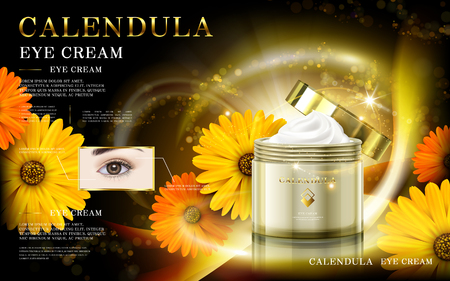 calendula: calendula gold and black mask ad, contained in cosmetic jars, 3d illustration Illustration