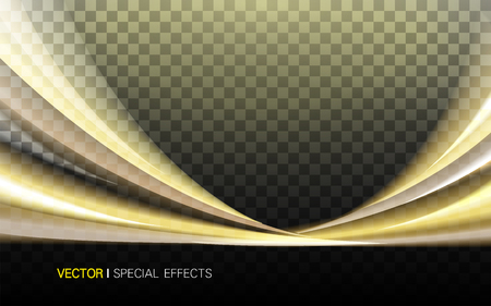 lustrous: golden lustrous wavy effect on two sides, 3d illustration transparent background Illustration