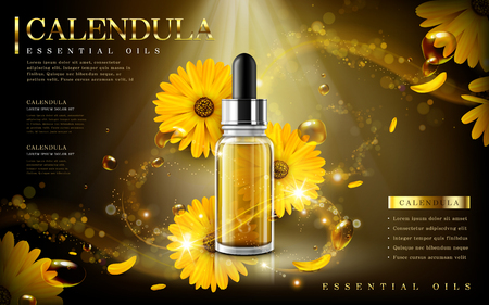calendula essential oil ad, contained in droplet bottle, light and petal background, 3d illustration Çizim