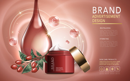 revitalizing: wolfberry skincare product contained in cosmetic jar, golden background, 3d illustration