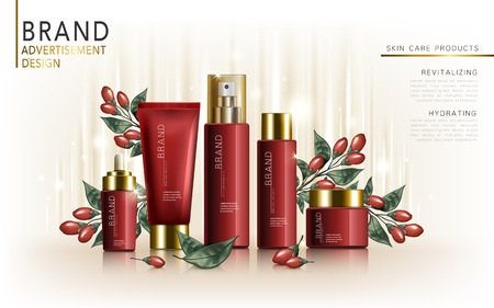 wolfberry skincare set, contained in tube, jar, and bottles, white background, 3d illustration Çizim