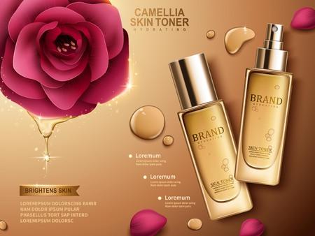 Camellia huid toner in spuitfles, gouden achtergrond, 3d illustratie