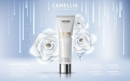 camellia skin toner contained in tube, silver background, 3d illustration Ilustração