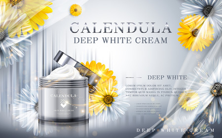 luster: calendula deep white cream ad, contained in cosmetic jars, silver background, 3d illustration