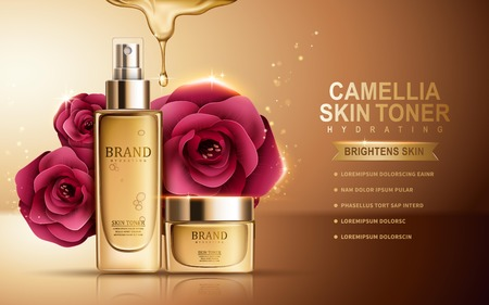 camellia skin toner contained in sprayer bottle and cosmetic jar, golden background, 3d illustration