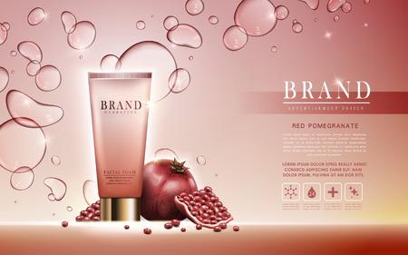 schiuma melograno facciale contenuta nel tubo, sfondo rosa chiaro, illustrazione 3d