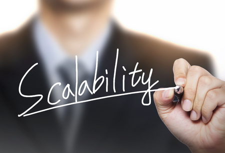 scalability: scalability written by hand, hand writing on transparent board, photo