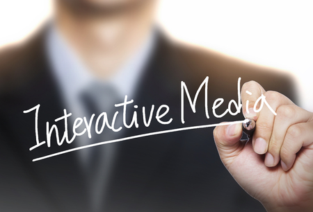 interactive media written by hand, hand writing on transparent board, photo Stock Photo
