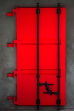 red door: Metal red door background, close up look of attractive locked door