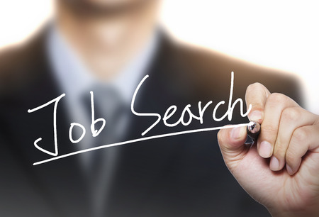 advisor: job search written by hand, hand writing on transparent board, photo Stock Photo