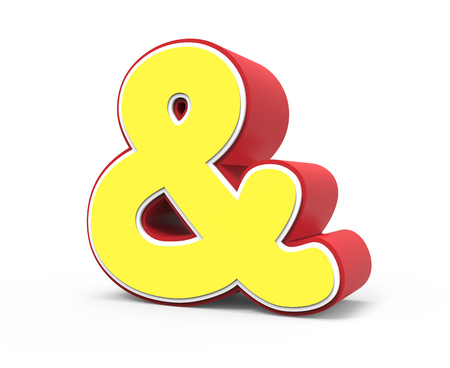 right tilt red framed yellow ampersand mark, 3D rendering graphic isolated on white background