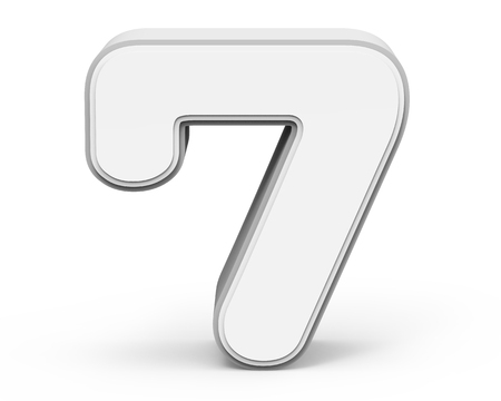 top seven: white number 7, 3D rendering graphic isolated on white background