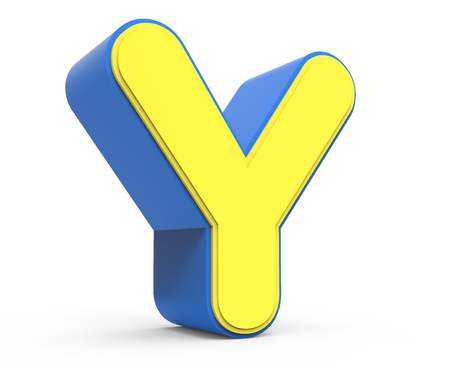 3d rendering cute yellow  letter Y isolated white background, toylike alphabet for design, yellow word with blue frame, left leaning