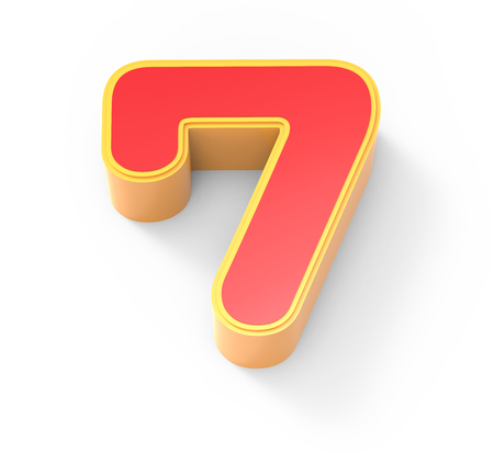top 7: yellow framed red number 7, 3D rendering graphic isolated on white background, top view