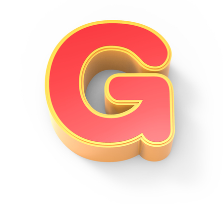 framed: yellow framed red letter G, 3D rendering graphic isolated on white background, top view
