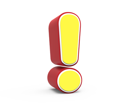 left tilt red framed yellow exclamation mark, 3D rendering graphic isolated on white background