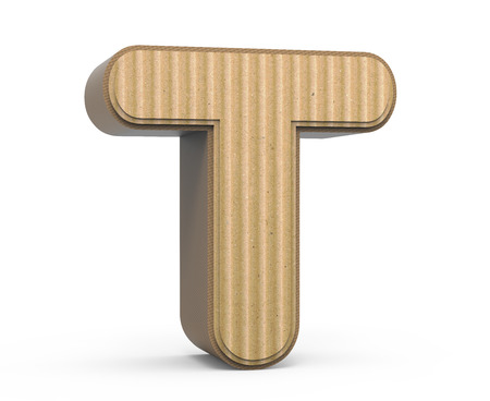 single word: left tilt corrugated cardboard letter T, 3D rendering graphic isolated on white background