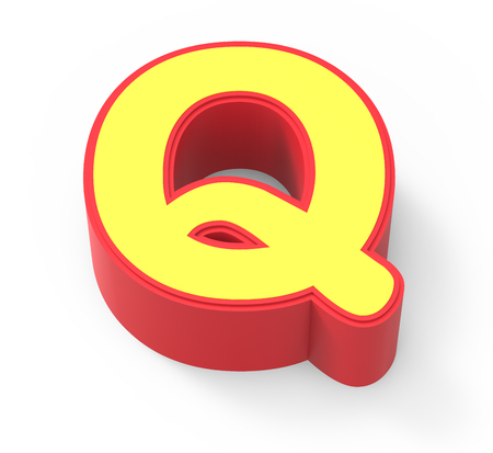 red framed yellow letter Q, 3D rendering graphic isolated on white background, top view