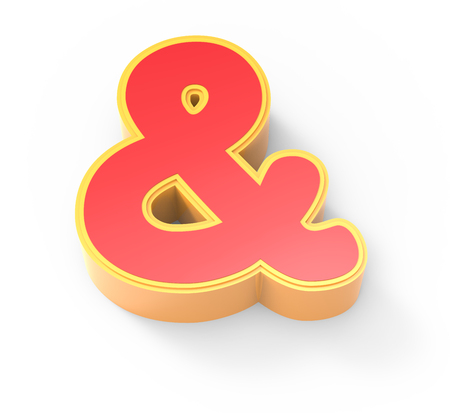 yellow framed red ampersand mark, 3D rendering graphic isolated on white background, top view Stock Photo
