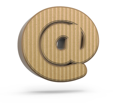 symbol  punctuation: left tilt corrugated cardboard at mark, 3D rendering graphic isolated on white background