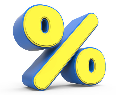 percentage sign: cute yellow percentage sign, yellow sign with blue frame, toylike sign for design, 3d rendering