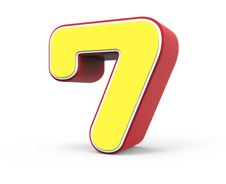 top 7: right tilt red framed yellow number 7, 3D rendering graphic isolated on white background
