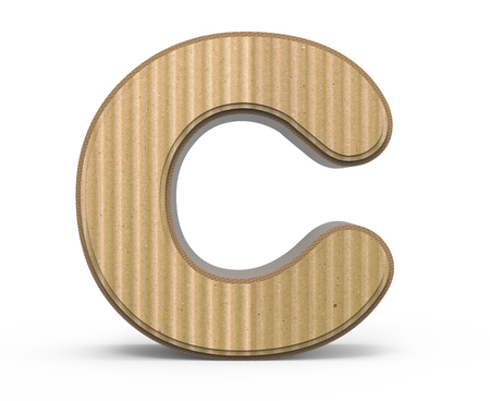 corrugated cardboard letter C, 3D rendering graphic isolated on white background 写真素材
